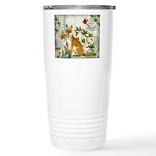 Modern vintage winter woodland fox Travel Mug