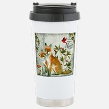 Modern vintage winter woodland fox Travel Mug