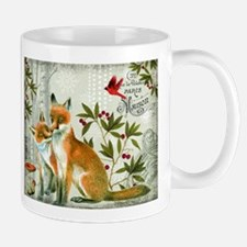 Modern vintage winter woodland fox Mugs