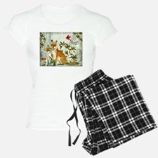 Modern vintage winter woodland fox Pajamas