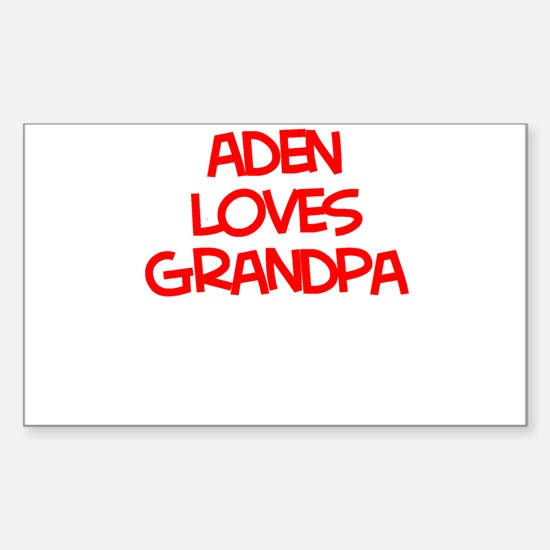 Aden Loves Grandpa Rectangle Decal