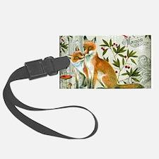 Modern vintage winter woodland fox Luggage Tag