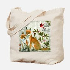 Modern vintage winter woodland fox Tote Bag