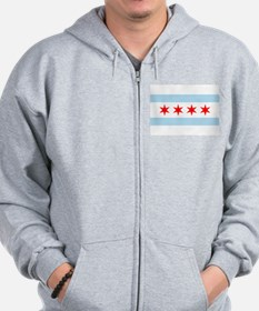 Unique Flag chicago Zip Hoodie