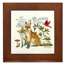 modern vintage woodland winter fox Framed Tile