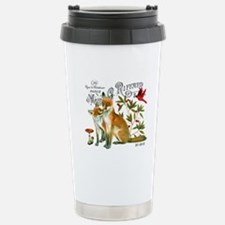 modern vintage woodland winter fox Travel Mug