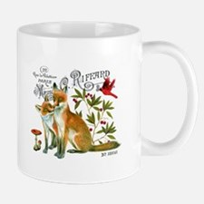 modern vintage woodland winter fox Mugs