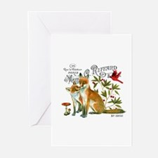 modern vintage woodland winter fox Greeting Cards