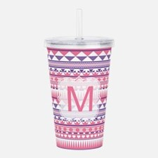 Monogram Pink Purple Aztec Acrylic Double-wall Tum