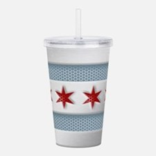 Chicago Flag Brushed Metal Acrylic Double-wall Tum