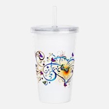 Heart and butterflies Acrylic Double-wall Tumbler