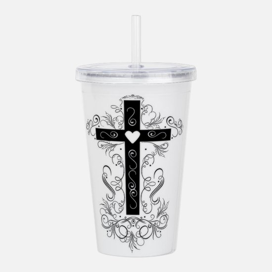 Flourish Cross Acrylic Double-wall Tumbler