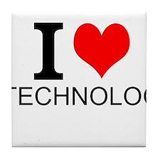 I Love Technology Tile Coaster