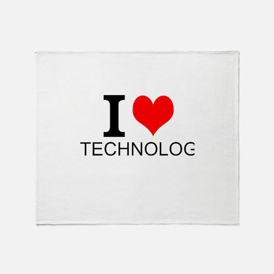 I Love Technology Throw Blanket