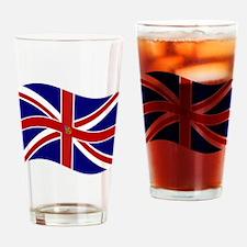 Waving Union Jack Pentagram Flag Drinking Glass
