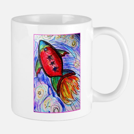 rocket, spaceship art Mugs
