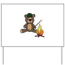 Campfire Teddy Bear Yard Sign