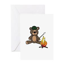 Campfire Teddy Bear Greeting Cards