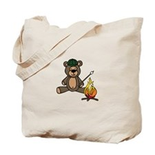 Campfire Teddy Bear Tote Bag