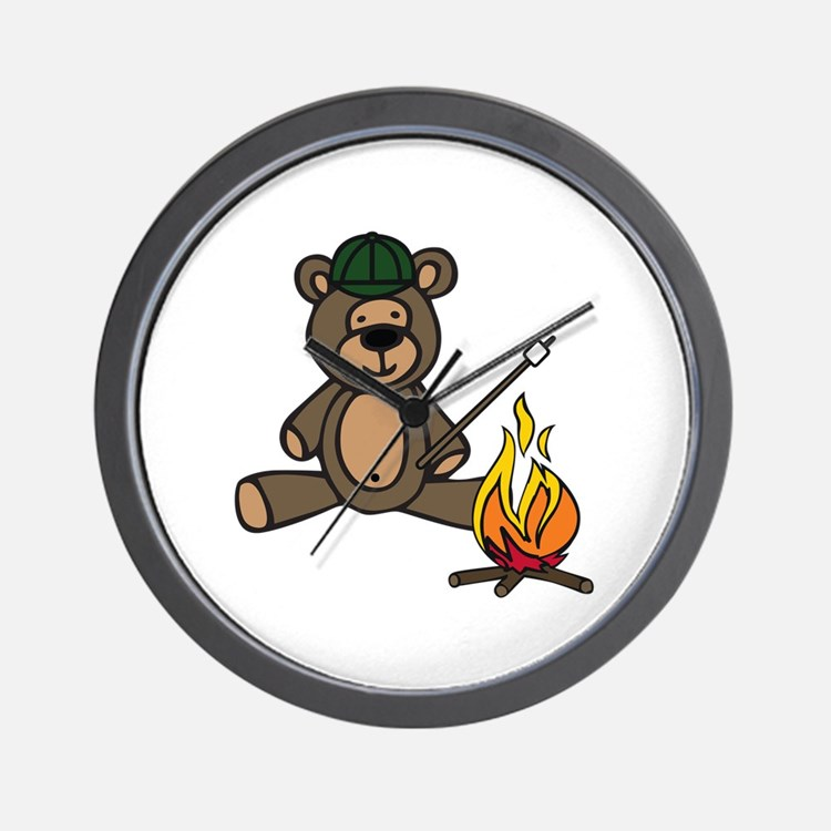 Campfire Teddy Bear Wall Clock