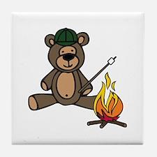 Campfire Teddy Bear Tile Coaster