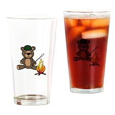 Campfire Teddy Bear Drinking Glass