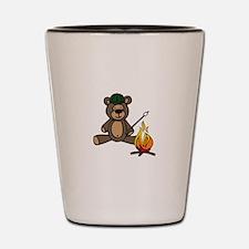 Campfire Teddy Bear Shot Glass