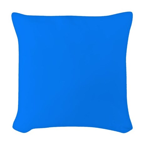 Solid Bright Blue Woven Throw Pillow by BedTimeDesigns