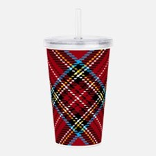 Red Plaid Pattern Acrylic Double-wall Tumbler