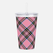 Pink Plaid Pattern Acrylic Double-wall Tumbler