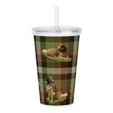 Cute Leonberger Dog Tartan Acrylic Double-wall Tum