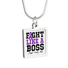 PKD Fight Silver Square Necklace