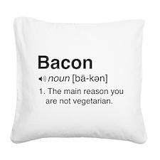 Bacon Definition Square Canvas Pillow