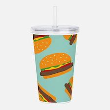 Cute Burger Pattern Acrylic Double-wall Tumbler