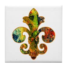 Fleur de lis Faux Paint 2 Tile Coaster