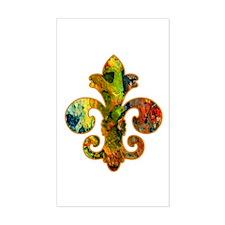 Fleur de lis Faux Paint 2 Rectangle Decal