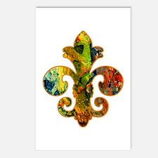 Fleur de lis Faux Paint 2 Postcards (Package of 8)