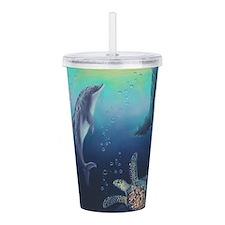Hawaiian Dolphin Acrylic Double-wall Tumbler