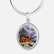 Moose Silver Oval Necklace