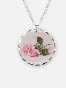 Vintage Pink Roses Necklace