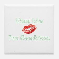 Kiss Me I'm Serbian Tile Coaster