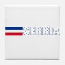 Serbia Flag (Dark) Tile Coaster