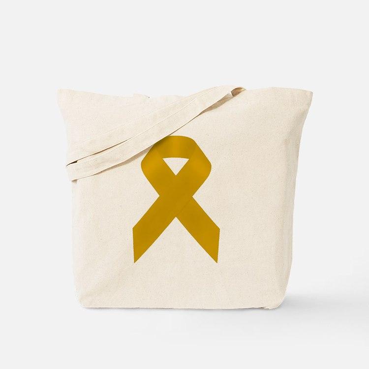Gold Awareness Ribbon Tote Bag