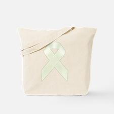 White Awareness Ribbon Tote Bag