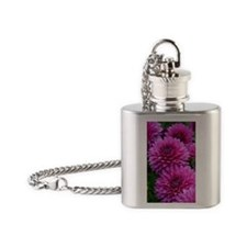 Purple dahlia flowers Flask Necklace