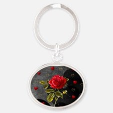 Red Rose Black Hearts Oval Keychain