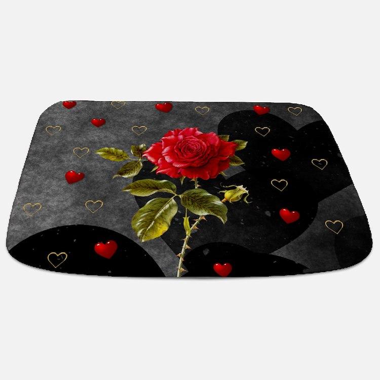 Red Rose Black Hearts Bathmat