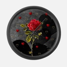 Red Rose Black Hearts Large Wall Clock