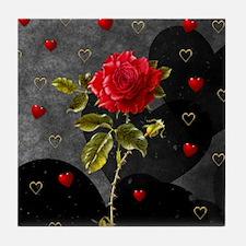 Red Rose Black Hearts Tile Coaster