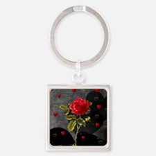 Red Rose Black Hearts Square Keychain